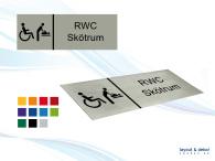 Pictogramskylt. RWC SKÖTRUM 225x80mm, borstad aluminium