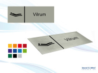 Pictogramskylt. VILRUM 225x80mm, borstad aluminium