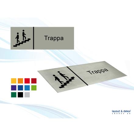 Pictogramskylt. TRAPPA 225x80mm, borstad aluminium