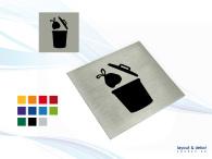 SOPRUMSSKYLT -Pictogramskylt. SOPRUM 80x80mm, borstad aluminium