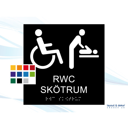 Taktil skylt. RWC SKÖTRUM 150mm Raka hörn Med text