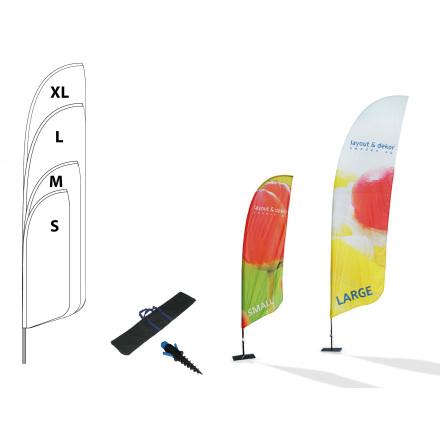 Beachflagga, classic, strl S, 765x2215mm inkl metallfot