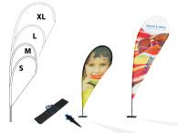 Beachflagga, droppform strl XL 1460x3370mm inkl markskruv