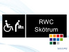 Pictogramskylt. RWC SKÖTRUM 225x80mm Ej taktil Med text
