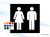 Akrylskylt. WC skylt dam/herr 140mm, raka hörn, utan text