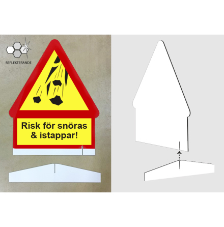 Risk för snöras, enkelsidig skylt i reflex