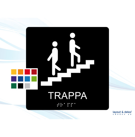 Taktil skylt. TRAPPA 150mm Runda hörn Med text