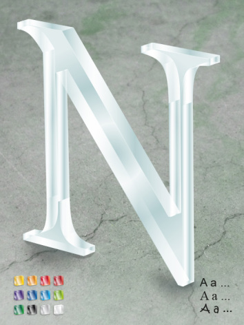 Bokstav/siffra 250mm, akryl 19mm