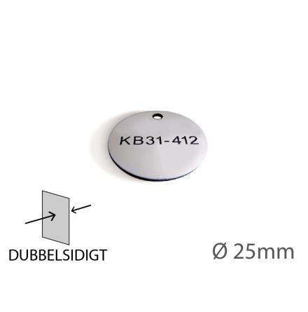 Ventilbricka i plast, 25mm i diameter, dubbelsidig gravyr