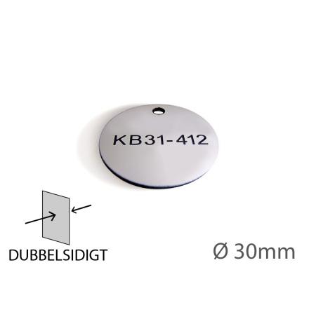 Ventilbricka i plast, 30mm i diameter, dubbelsidig gravyr
