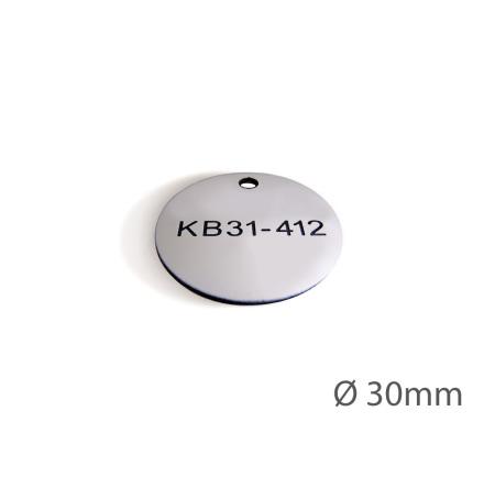 Ventilbricka i plast, 30mm i diameter, enkelsidig gravyr