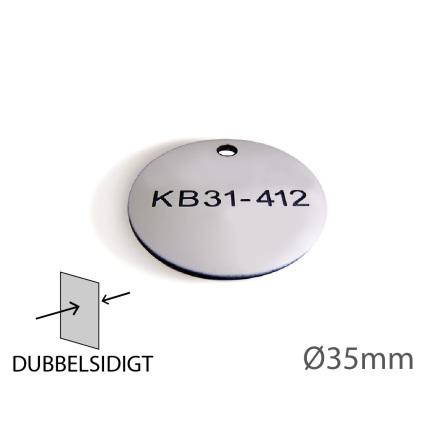 Ventilbricka i plast, 35mm i diameter, dubbelsidig gravyr