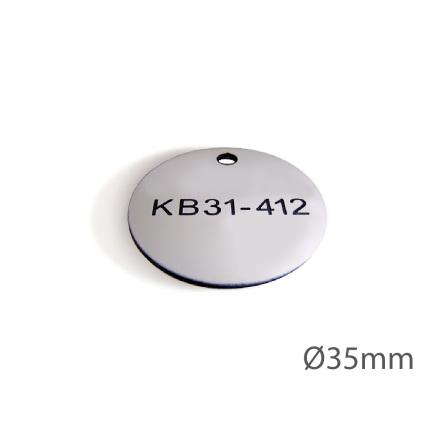 Ventilbricka i plast, 35mm i diameter, enkelsidig gravyr