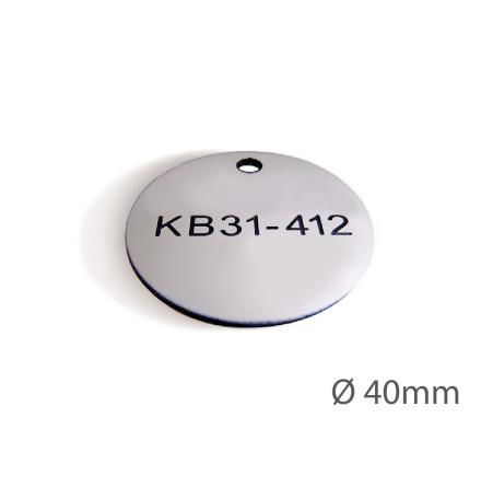 Ventilbricka i plast, 40mm i diameter, enkelsidig gravyr