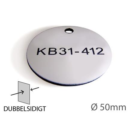Ventilbricka i plast, 50mm i diameter, dubbelsidig gravyr