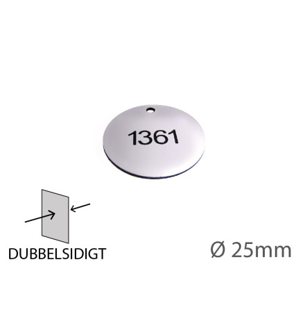 Graverad Nyckelbricka i plast, 25mm i diameter, dubbelsidig gravyr