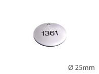 Nyckelbricka i plast, 25mm i diameter, enkelsidig gravyr