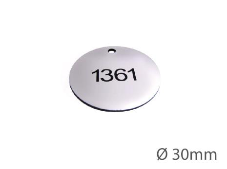 Nyckelbricka i plast, 30mm i diameter, enkelsidig gravyr