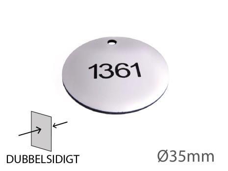 Nyckelbricka i plast, 35mm i diameter, dubbelsidig gravyr