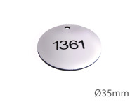 Nyckelbricka i plast, 35mm i diameter, enkelsidig gravyr