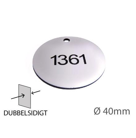 Nyckelbricka i plast, 40mm i diameter, dubbelsidig gravyr