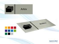Pictogramskylt. ARKIV 225x80mm, borstad aluminium
