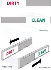 Diskmaskinsskylt, eng dirty/clean. med häftämne