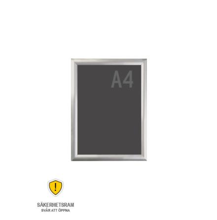 Snäppram, Security frame A4s, 25mm aluminiumprofil
