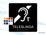 Taktil skylt. TELESLINGA 150mm Runda hörn Med text