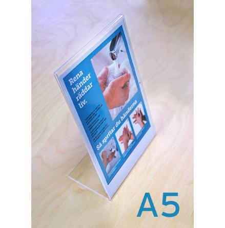 Bordsställ A5, inkl infoblad 210x297mm plus fot