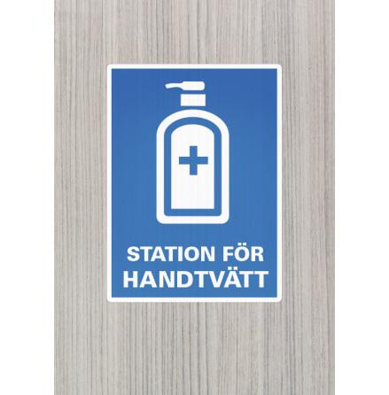 Dekal/skylt, Station för handtvätt, A4, 210x297mm
