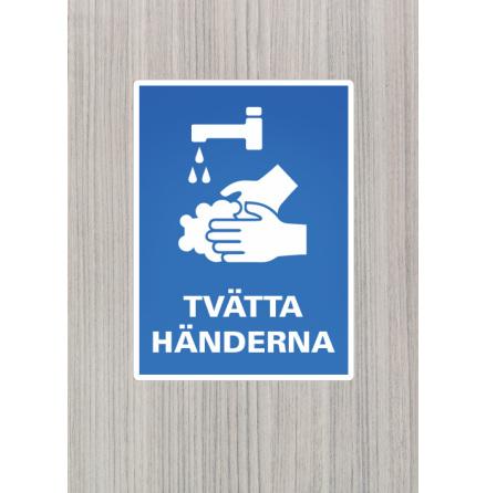 Dekal/skylt, Tvätta händerna, A4, 210x297mm