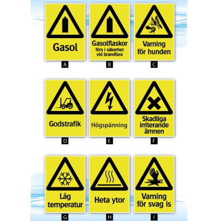 Skylt, varningsskylt v2, A4, 210x297mm