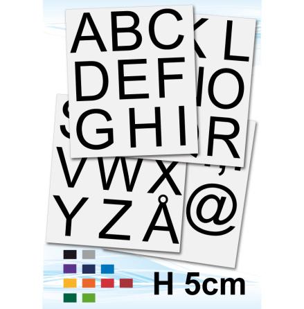 Alfabetsdekaler, h50mm, 1frp, valfri färg