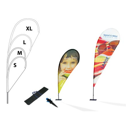 Beachflagga, droppform strl XL 1520x3430mm inkl markskruv