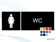 Pictogramskylt. WC dam 225x80mm Ej taktil Med text