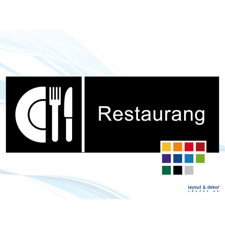 Pictogramskylt. RESTAURANG 225x80mm Ej taktil Med text