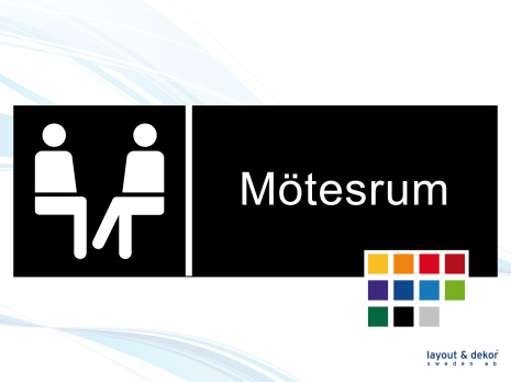 Pictogramskylt. MÖTESRUM 225x80mm Ej taktil Med text