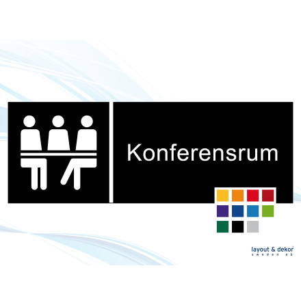 Pictogramskylt. KONFERENSRUM 225x80mm Ej taktil Med text